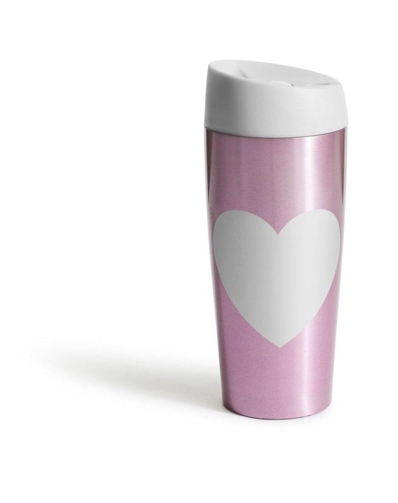 Sagaform Bilmugg med låsbar tryckfunktion hjärta, rosa 40 cl H 185 mm