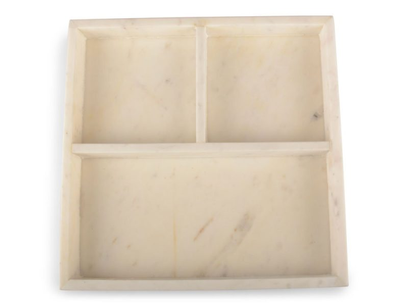 Bricka Kvadrat Indelad Marmor