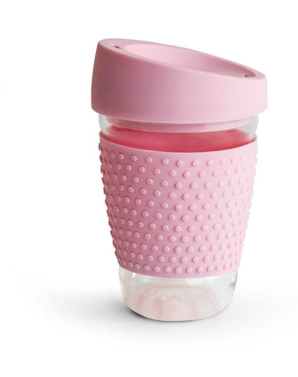 Sagaform Glasmugg med silikon rosa 90 x 90 x 130 mm
