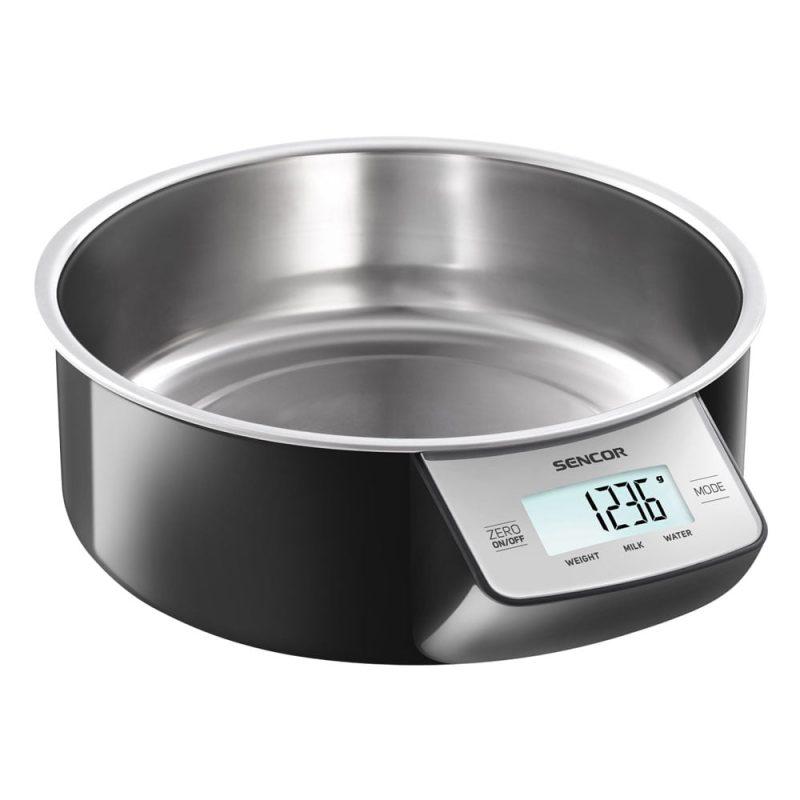 Sencor Digital köksvåg 5 kg med löstagbar skå i rostfritt 1l