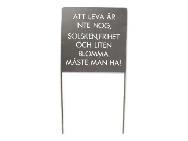 """Trädgårdsskylt med texten """"Att leva...Grå 30x30x60 cm"""