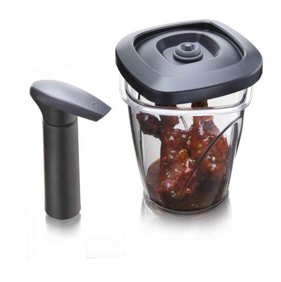 Marinad skål med vacuum pump 1,3L