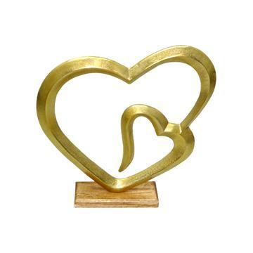 Dorre Hjärta Helia m träfot 40 cm guldfärgad
