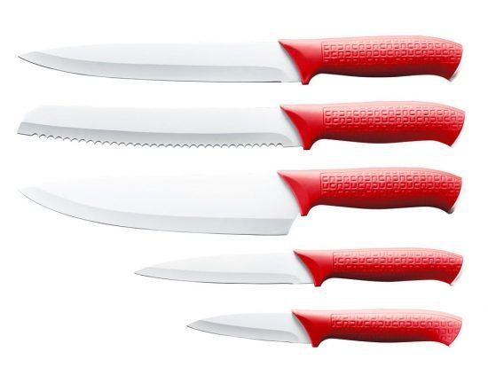 Dorre Knivset 5-del Nonstickblad Röd Handtag